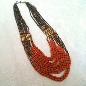 Boho Ethnic Inspired Beaded Multi Strand Necklace